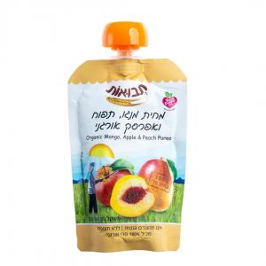 מחית מנגו, תפוח, אפרסק אורגני 100 גר'